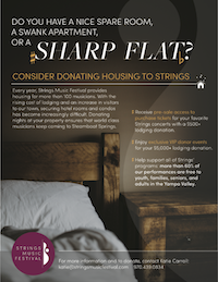 Donate lodging to support Strings musicians